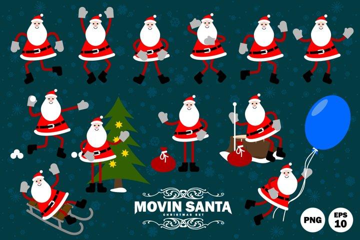 Happy Santa Claus in motion.