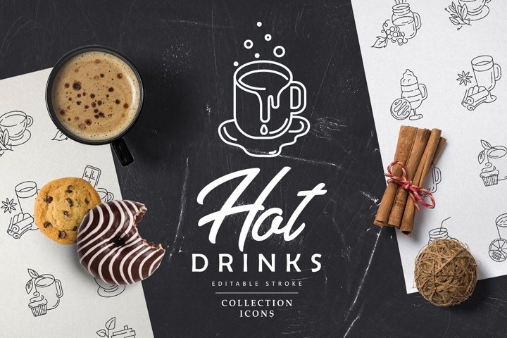 Hot drinks for cold weather Icons