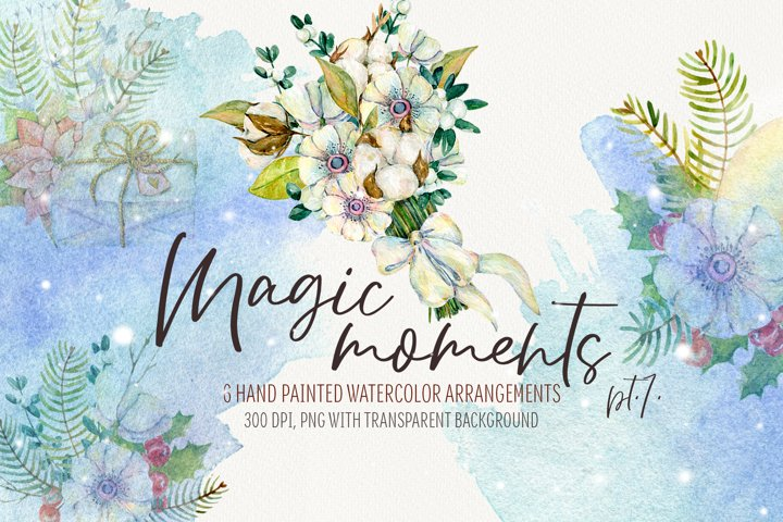 Watercolor Christmas arrangements. Winter flowers collection