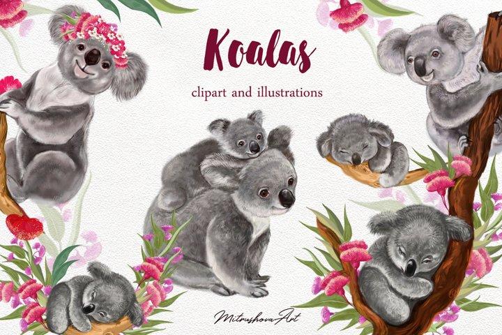 Cute Koalas .Clipart