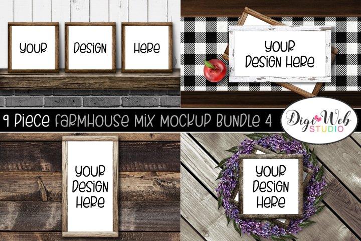 Wood Signs Mockup Bundle - 9 Wood Frames Farmhouse Mix 4