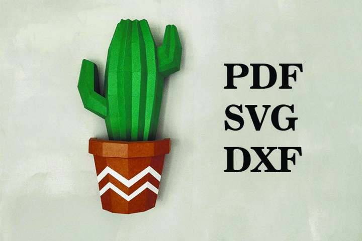 cactus wall decor 3d, paperart decor, PDF, DXF, svg,paper