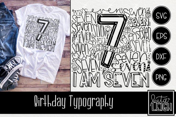 Seventh Birthday Typography