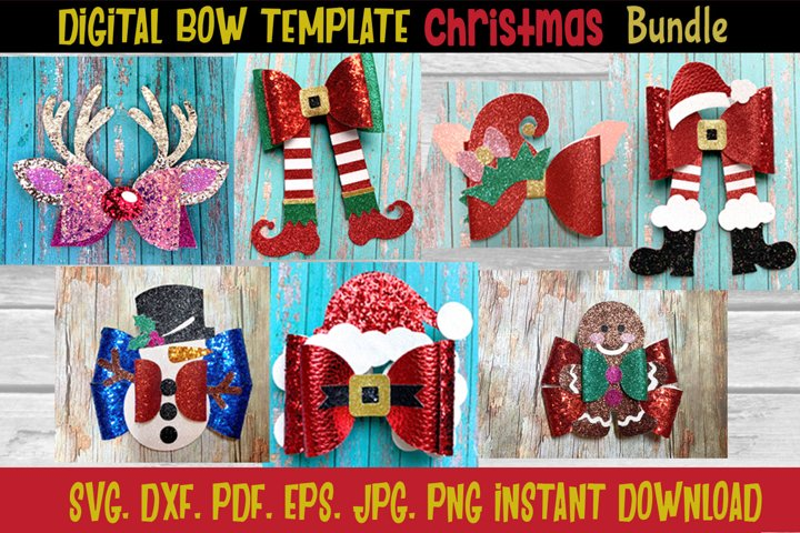 Holiday Christmas Hair Bow Template Bundle