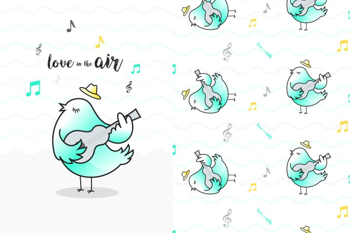 Cute singing bird illustration with pattern