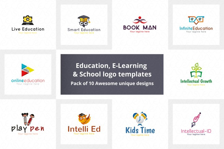 Education E-Learning & School Logo Pack of 10 Awesome Design