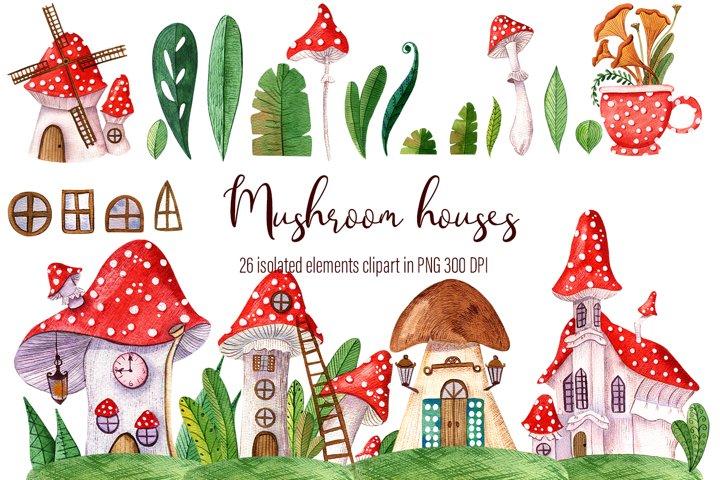 Watercolor hand-drawn set of beautiful Mushroom houses