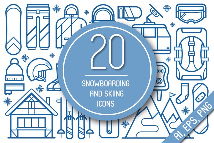 Snowboard and Ski Equipment Icons