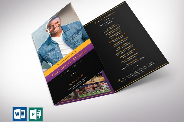 Purple Gold Tri-Fold Funeral Program Word Publisher Template