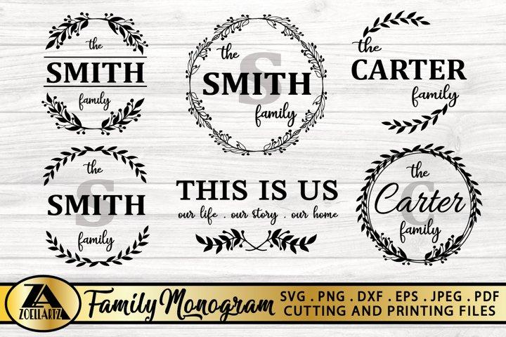 Family Monogram Bundle SVG Farmhouse Monogram SVG Bundle