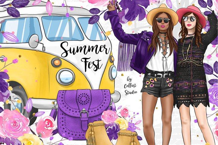 Summer Boho Clipart Fashion Girl Illustration, Travel