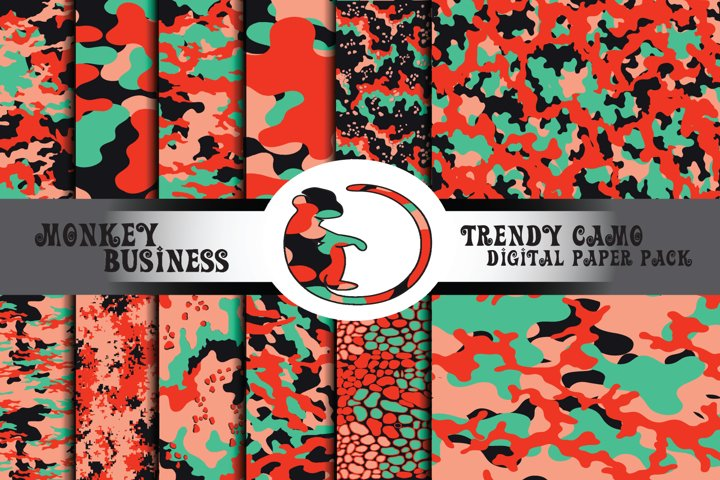Scrapbook papers, Instant download, Red and green patterns