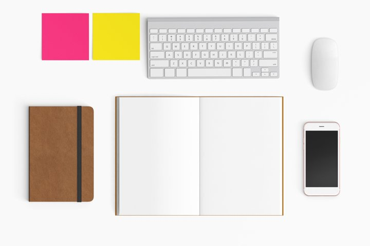 Modern workplace. Top view. Flat lay style. 28