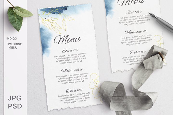 Indigo Wedding Menu. Editable template