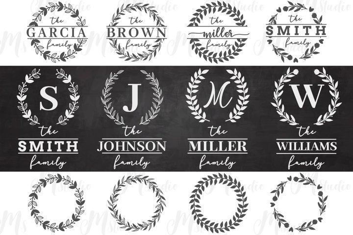 Family Monogram Wreath SVG Bundle.