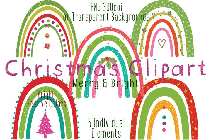 Christmas Clipart, Christmas Rainbows, Cute, Baby Kids Xmas