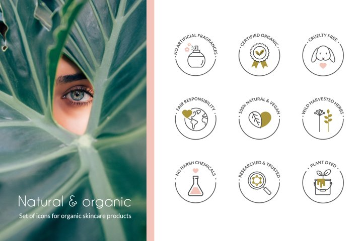 Organic skincare products icon set