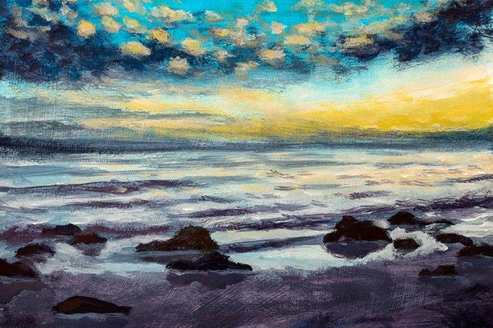 Beautiful sunset on beach sea. Oil painting.