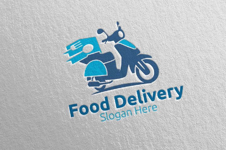 Scooter Fast Food Delivery Logo 7