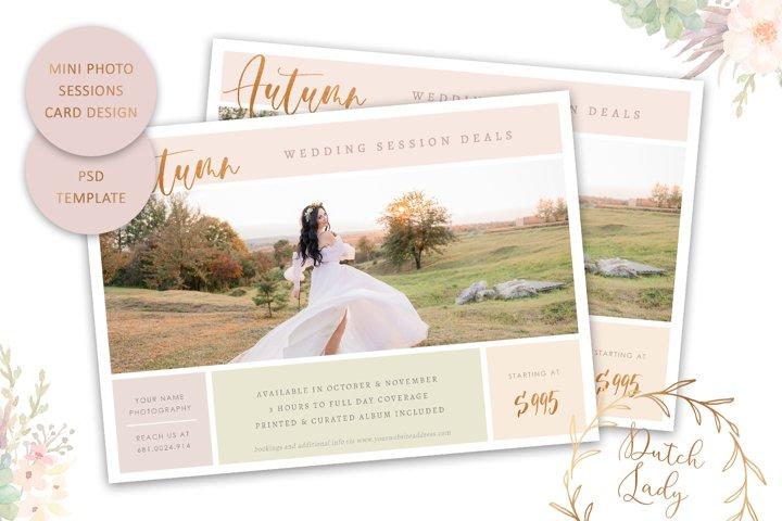 PSD Autumn Photo Session Card Template - Design #71