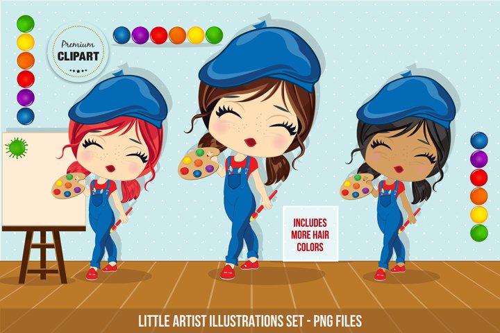 Little artist graphics, Artist illustrations, Art party