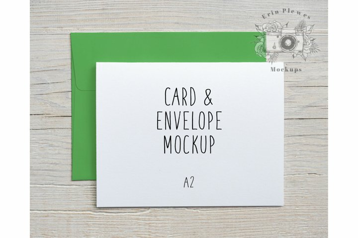 Card Mock Up Bright Green Envelope | A2 Card Stock Photo