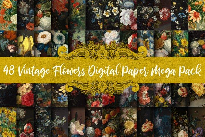 Vintage Flowers Digital Paper Megapack /Save 50 Percent!/