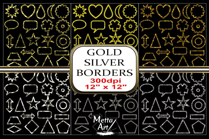6 Sets x 22 Borders/Frames - Gold and Silver