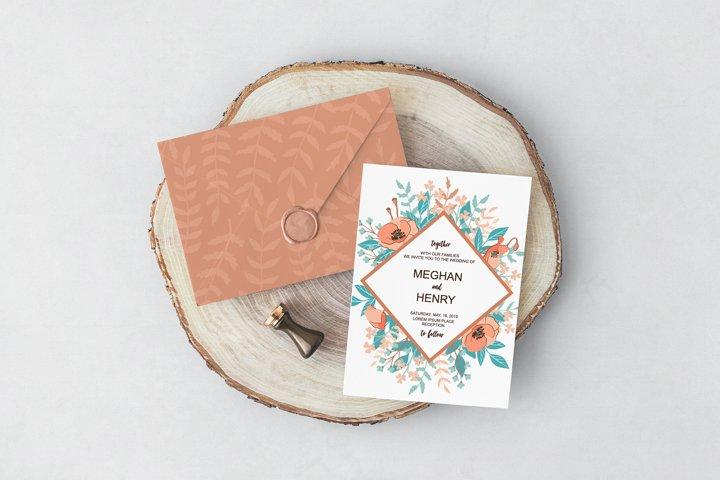 Wild Flowers Wedding Invitation set