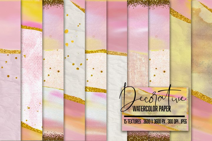 Decorative Soft Pink & Gold Textures. Watercolor Painted Art