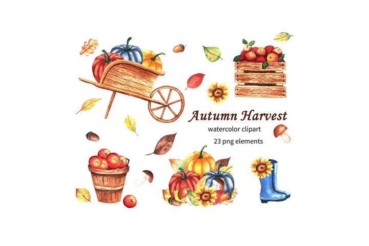 Hand drawn watercolor autumn clipart