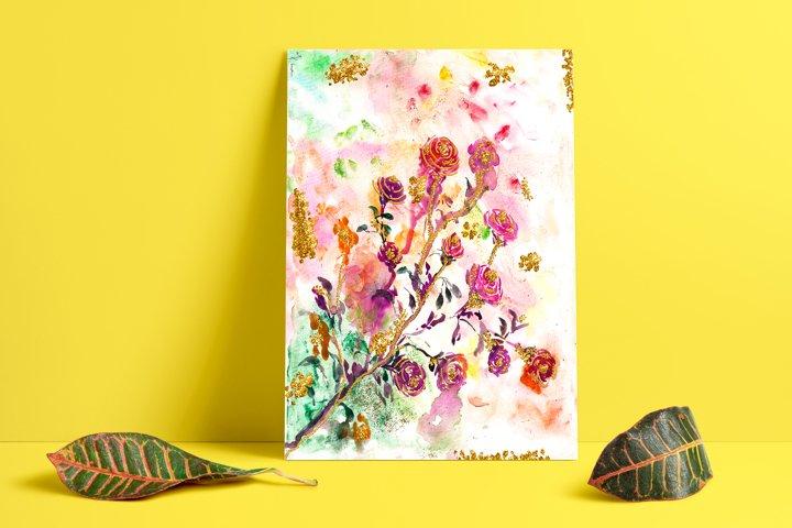 Watercolor Flowers, Digital Print, Watercolor painting, Rose