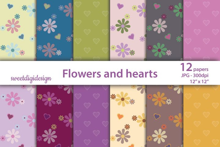 Flowers and hearts digital background
