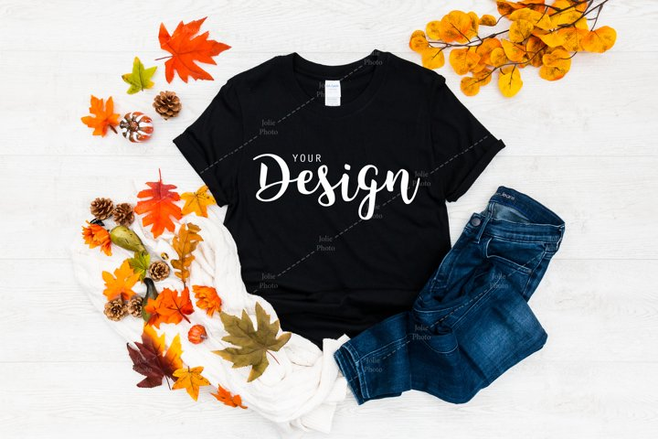 Gildan 64000 Softstyle Black T-shirt Mockup for Fall
