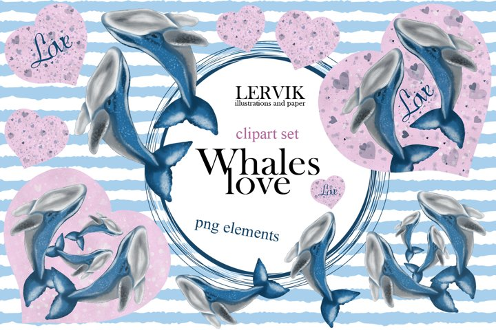 Watercolor whales love clipart