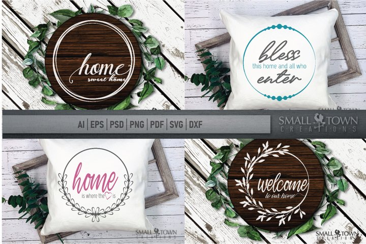Home, Welcome, Blessed, Wreath, PRINT, CUT & DESIGN