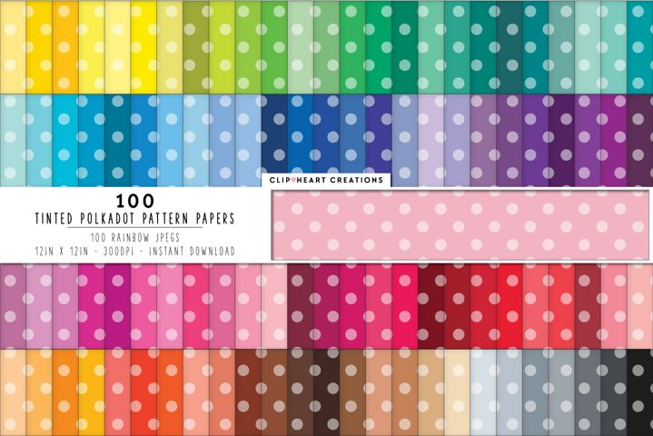100 Tinted Polka dot Pattern Digital Papers - rainbow color