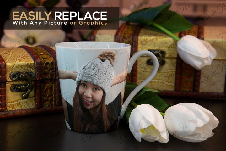 Mug Mockup Template with Smart Objects, Flowers & Chests PSD example 4