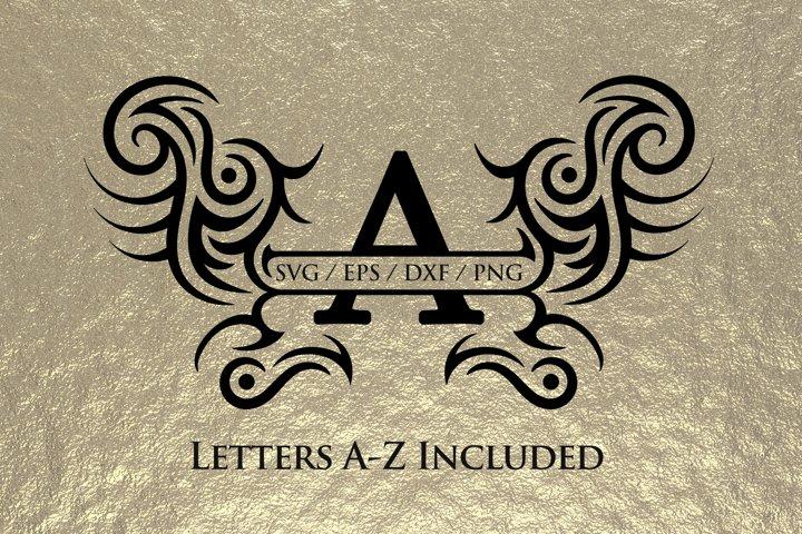 Trbal split monogram alphabet svg, includes all letters A -