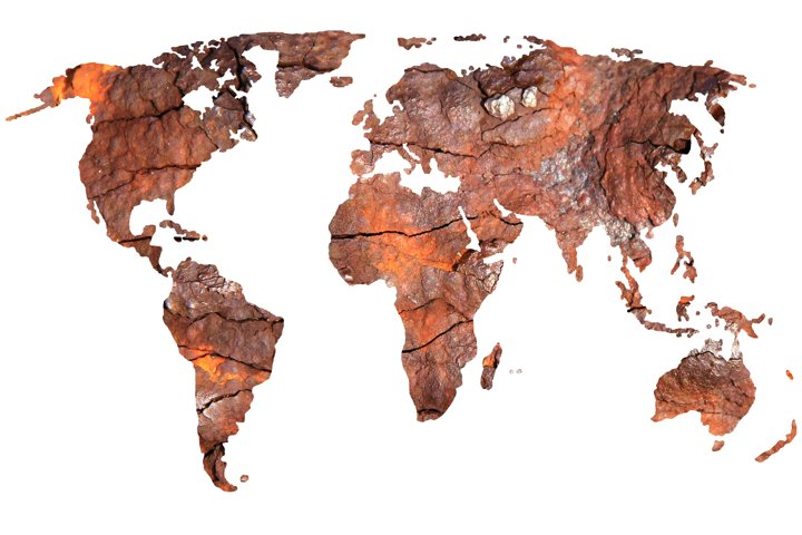 World Map, Silhouette, Rusty Metal, Transparent Background