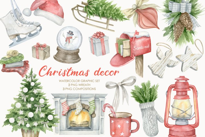 Watercolor Christmas Decor Clipart Set PNG