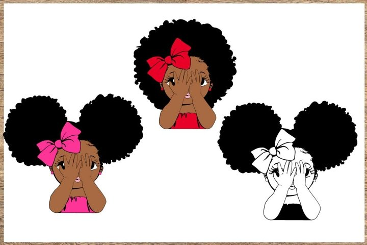 Peekaboo girl with puff afro ponytails svg, Cute black