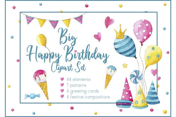 Big Happy Birthday Clipart Set