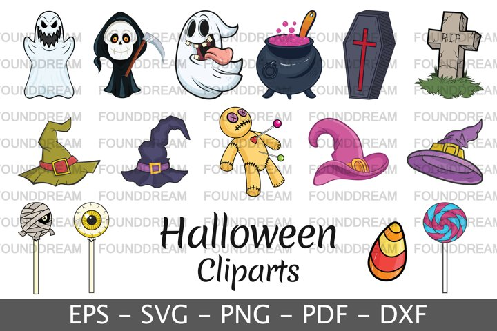 Set of Halloween cartoon characters
