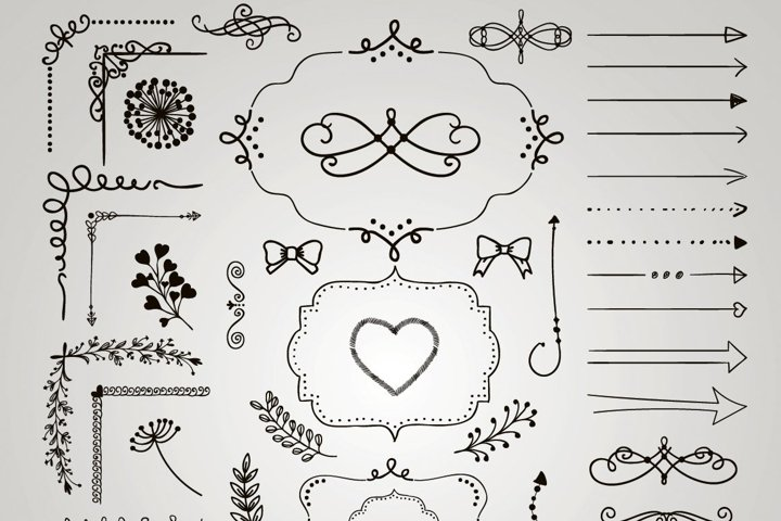 Sketched Rustic Decorative Hand Drawn Elements, Objects.