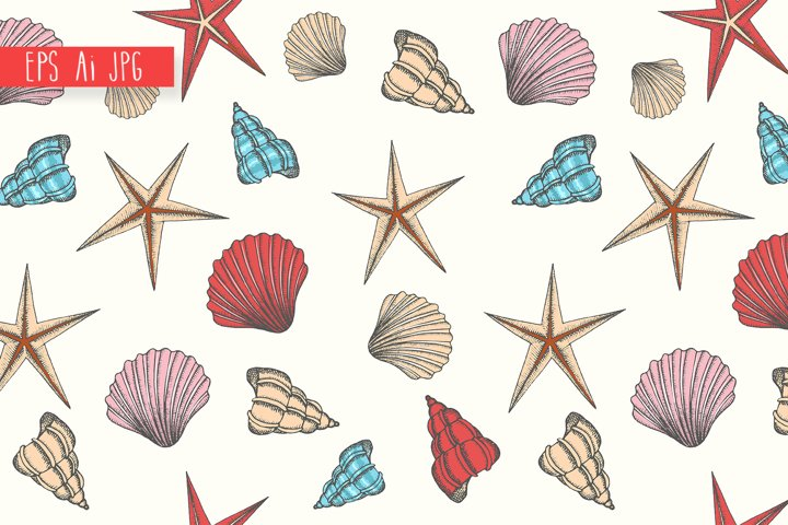 Seamless pattern with hand drawn seashells