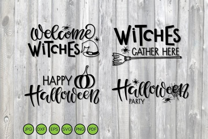 Halloween SVG. Hand drawn Lettering signs. Autumn Holiday