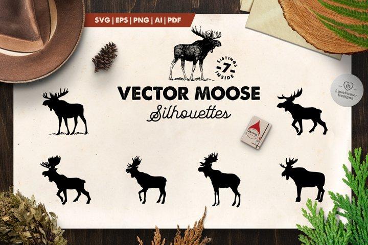 Moose Silhouette | 7 Vector Moose Silhouettes | Moose SVG