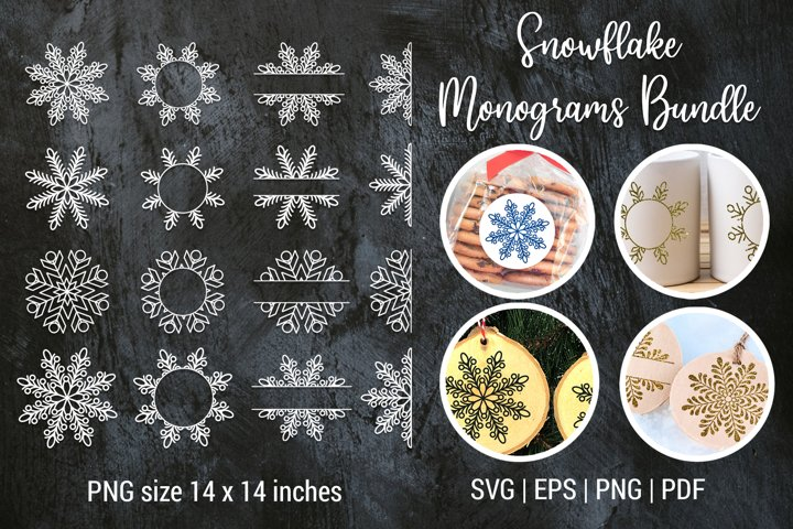 Christmas snowflake split monogram frame Bundle | Cut files