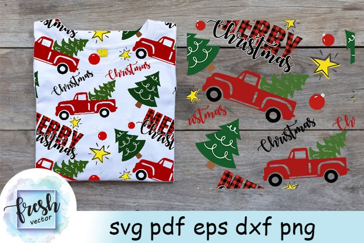 Merry Christmas Pattern Svg with Christmas Truck Svg